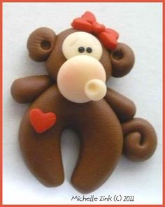 Polymer+Clay+Bead+or+Bow+Center+Funky+Monkey+by+michellesclaybeads,+$2.50