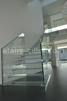 staircase with glass treads and glass railing for residential projects http://www.stairs-siller.com/glass-stairs/