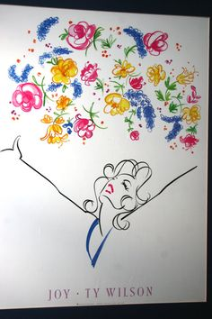 1992 JOY by Ty Wilson Minimalist Illistration Vintage Cool in Bright Florescent Pink Yellow Blue Green Black and White Whimsical Strokes