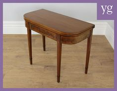 Antique Mahogany D End Inlaid Side Console Hall Tea Table Table #AntiqueDEndTeaTable