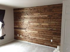 Transform the room into a cozy cabin! Install tongue-in-groove flooring on the wall for a rustic, unique look.
