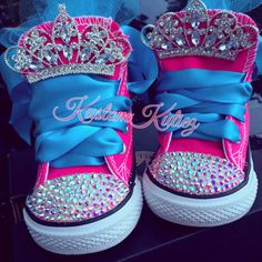 Hot pink converse Princess first birthday shoes by KustomKutiez