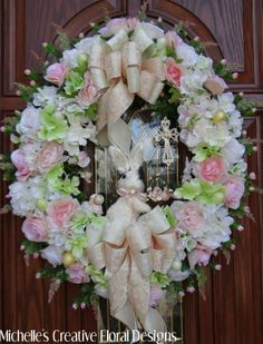 VICTORIAN EASTER SHABBY WREATH CHIC DECORATION~BUNNY~LAMB~CROSS~EGGS~BASKET~BOWS