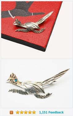 Road Runner Brooch -Silver Turquoise - Southwestern - Old Pawn - Native American Bird pin https://www.etsy.com/serendipitytreasure/listing/468524061/road-runner-brooch-silver-turquoise?ref=listing_published_alert