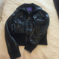 """Leather jacket Miley Cyrus collection from max azria. """"Leather"""" jacket. Two zipper pockets and two hand pockets. Super comfy, great condition. All zippers work Jackets & Coats"""