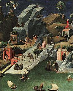 """Thébaïde, vers 1410, Gherardo Starnina, Florence, Offices- Cette peinture avait été attribuée pendant longtemps à divers artistes, parmi eux, Fra Angelico. L'iconographie de """"Thébaïde"""" prouve qu'elle a été commandée par un ordre mendiant. Elle dépeint la vie d'un saint et la vie dans le désert d'un certain nombre d'ermites. Toute la surface de l'œuvre est occupée par de nombreuses petites scènes et par les activités de petites figures"""