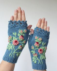 Knitted Fingerless Gloves, Gloves & Mittens, Gift Ideas, For Her, Winter Accessories, Blue, Roses, Mother's Day Gifts,Fashion, Accessories