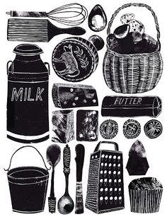 illustration : Alice Pattullo, ustensiles de cuisine, nourriture, recette, noir et blanc