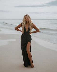 Neutrals - black dress on the beach