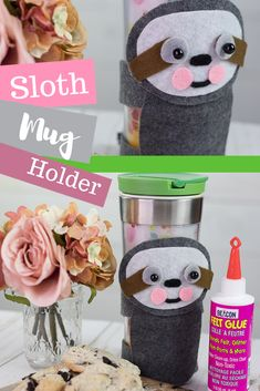 Make your own sloth mug holder with Beacon Felt Glue! Coffee Mug Crafts, Glues And Adhesives, Felt Glue, Coffee Mug Holder, Diy Mugs, Painted Mugs, Animal Crafts, Felt Crafts, Sloth