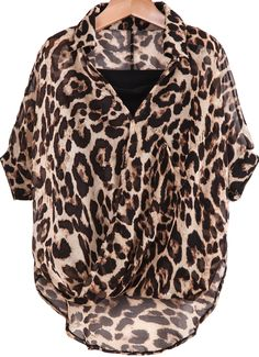 Leopard Lapel Batwing Sleeve Two Pieces Chiffon Blouse 13.33