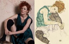 Julianne Moore by Peter Lindbergh as Seated Woman With Bent Knee by Egon Schiele for Harper's Bazaar Peter Lindbergh, Julianne Moore, Gustav Klimt, Famous Words, Famous Art, John Currin, Tableaux Vivants, Foto Fashion, Vintage Artwork