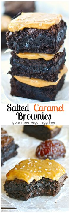Gluten Free Salted Caramel Brownies (Vegan) Fudgy brownies covered with sweet and salty caramel sauce! Dairy free easy caramel sauce #vegan #recipes #vegetarian #healthy #recipe