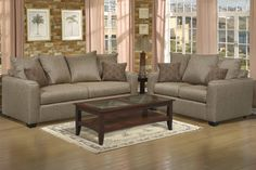 Elegant Living Solution-Poundex 2 PC Contemporary Warm Beige Chenille Loveseat Sofa Set
