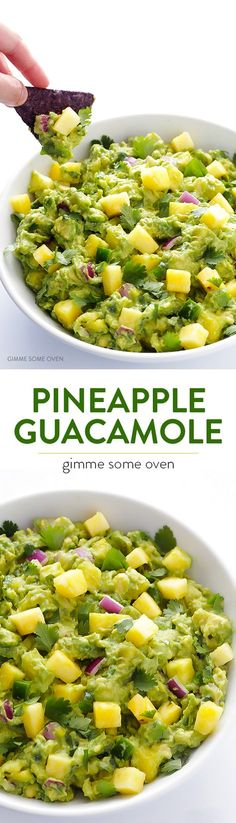 Pineapple Guacamole -- delicious homemade guacamole is kicked up a notch with some fresh, juicy, sweet pineapple! | http://gimmesomeoven.com