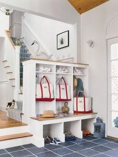 Three kidos, three cubbies...  great way to help children keep organized!!       Sarah Macklem is the Editor of TheYellowCapeCod.com, Home Stylist from Detroit,  Michigan.