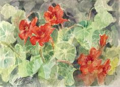 ACEO Original painting nasturtium flowers art listed by artist American Artwork #Realism Watercolor Artwork, Watercolor Flowers, Butterfly Art, Flower Art, Artist Card, Sunset Art, Bunny Art, Original Art For Sale, Gold Art