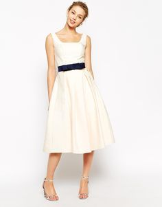 Image 1 of Chi Chi London Debutant Prom Skater Dress With Contrast Belt