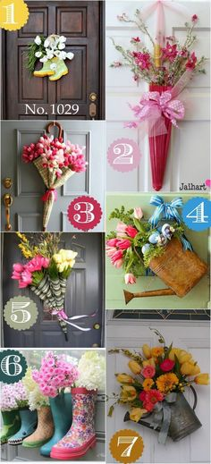 Sharing 36 different ideas for door decor that are NOT wreaths. Thinking outside the box for your front door. Great ideas!