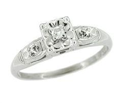 Vintage Lucky Clover Diamond Engagement Ring - Circa 1950's - 14 K White Gold