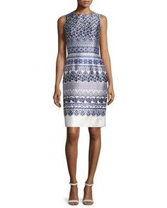 OSCAR DE LA RENTA LACE-PRINT MIKADO SHEATH DRESS, WHITE/NAVY. #oscardelarenta #cloth #