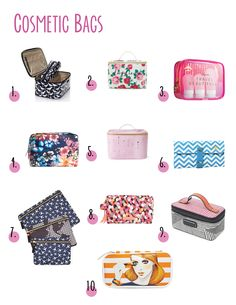 10 Cosmetic Bags Ten stylish and practical cosmetic bags for any style. Fun prints and many shapes are shared.