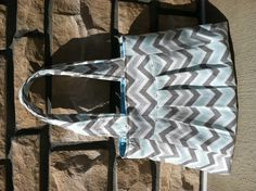 """This Blue mist chevron """"Lauren"""" bag is perfect for spring! Features 4 inside slip pockets and magnetic snap closure. $38 visit www.myahbags.com"""