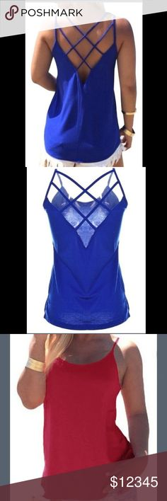 😍 L & XL LEFT!!!✨Spaghetti Strap Tank Top NWT TANK TOP. Thin material... perfect for those hot summer days. ONLY AVAILABLE IN BLUE. Please ask if you have any questions❤ (posh helper is modeling size medium) FIRM ON PRICE💁 Tops Tank Tops