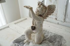 White distressed cherub statue w/ handmade by AnitaSperoDesign