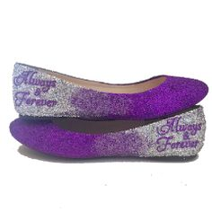 Women s Sparkly Purple Silver Ombre Glitter Ballet Flats Wedding Bride  Personalized Shoes Purple Flats 35a1635633