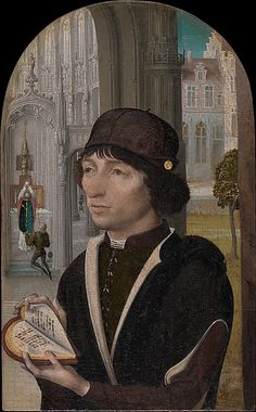 Young Man Holding a Book - Master of the View of Sainte Gudule (Netherlandish, active ca. 1485) Date: ca. 1480