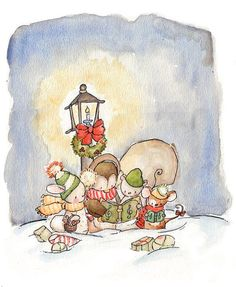 Children Art Print. CHRISTMAS CAROLERS. 8X10 Print. by LoxlyHollow