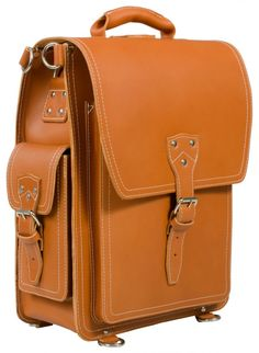 TAN VEGETABLE TANNED LEATHER LARGE BACKPACK / MESSENGER BAG