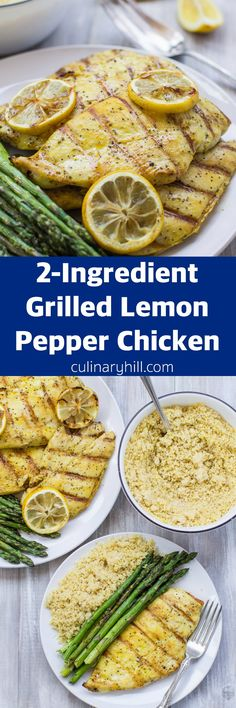 Grilled Lemon Pepper Chicken with a 1-ingredient rub plus 5-minute whole wheat lemon pepper couscous and grilled asparagus. An easy, healthy meal ready in minutes!