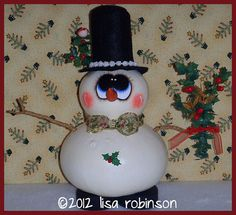 hand painted snowman gourd hp winter christmas holly glitter snowball top hat berries bow FROSTY prim chick ofg via Etsy