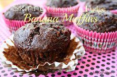 Skinny Chocolate fudge banana muffins