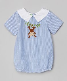 Another great find on #zulily! Blue Stripe Monkey Bodysuit - Infant by Lil Cactus #zulilyfinds