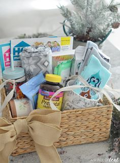 """A Gift Basket for an Expecting Mom! You're Pregnant!"""" gift basket for your newly pregnant friends or family with Nature Made® Prenatal Multi + DHA. New Mom Gift Basket, Gift Baskets For Men, Themed Gift Baskets, Raffle Baskets, Pregnancy Gift For Friend, Pregnancy Gift Baskets, Pregnancy Gifts, Baby Shower Gifts, Baby Gifts"""