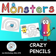 Crazy Pencils! MONSTER THEMED Fine Motor Activities for Center Time! This is a crazy fun file where teachers can print out, cut into 1/4, and put in labs. Works on eye hand coordination to follow a line. Students love this activity - and it teaches them a critical skill of following a path visually.