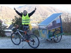 Vélo électrique Solaire. Transport gratuit - YouTube Solar, Transportation, Bicycle, Camping, Veils, Old Fashioned Bicycle, Travel, Campsite, Bike
