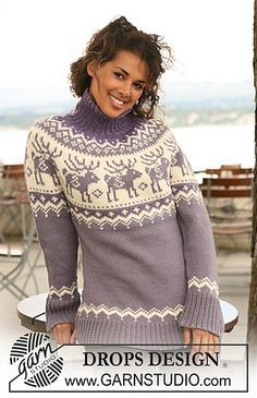 """Ravelry: 122-43 Knitted jumper with raglan sleeves and reindeer pattern on yoke in """"Nepal"""" free pattern by DROPS design"""