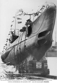 The launch of submarine Dandolo. Set up in January 1937 and launched in November the same year.