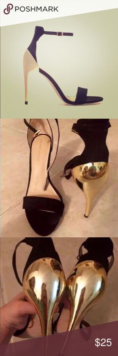 Zara Black Minimalist Ankle Strap with Gold Heels ♡ Beautiful Black One-Strap with Gold Heels! Only been worn once & goes with practically any outfit! Practically New! Minor, non-visible scratches on gold heel. No box.   ♡ 4 inch heel  ♡ Bottom of heels say Size 39 but Zara doesn't carry half sizes in this style so this would equate to a Size US 8. Zara Shoes Heels