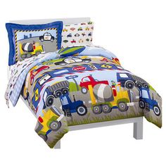 Found it at Wayfair - Dream Factory Trains & Trucks 5 Piece Twin Bed Sethttp://www.wayfair.com/Dream-Factory-Trains-and-Trucks-5-Piece-Twin-Bed-Set-2D719901MU-DRFY1003.html?refid=SBP