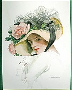 $99 HARRISON FISHER PRINT-Victorian  Lady  BIG ROSE Flower HAT-JUNE SUE (Image1)
