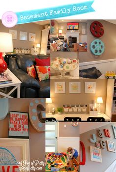 Basement Decorating Idea......great blog....pops of pretty
