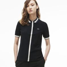 Women's Lacoste Regular Fit Striped Accents Piqué Polo