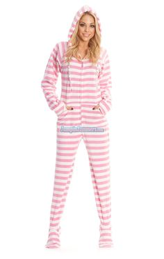 dbc77d2977c3 Pink Stripes Footed Hooded Adult Pajamas. These comfortable polar fleece  hoodies will keep you warm