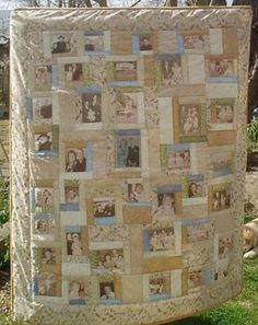 How to Make a Photo Quilt - Christian Homemaking Quilting Tutorials, Quilting Projects, Quilting Designs, Quilting Ideas, Rag Quilt, Quilt Blocks, Panel Quilts, Foto Quilts, Family Tree Quilt