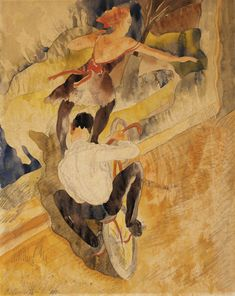 Charles Demuth (American, 1883-1935), Bicycle Acrobats, 1917. Watercolor and graphite on laid paper.